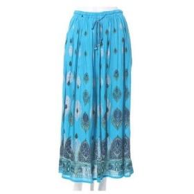 【チャイハネ】yul アフリカンエスニックロングスカート ターコイズブルー
