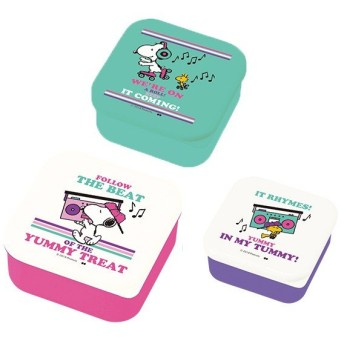 お弁当箱 シールランチボックス 3個セット スヌーピー BEAT キャラクター ( ランチボックス 弁当箱 シール容器 )