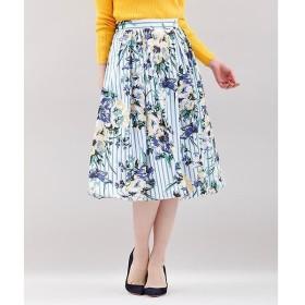 CLEAR IMPRESSION / クリアインプレッション ストライプフラワープリントスカート