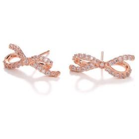 愛の太い弓とダイヤモンドのイヤリング(バラのゴールド)