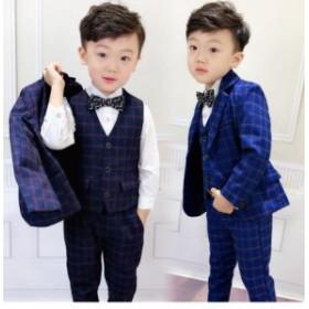 新作 子供スーツ男児 フォマールスーツジュニア服 結婚式 チェック柄 3点セット子供服 キッズ タキシード 七五三 男の子 発表会 韓国風