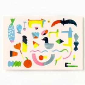 AIUEO ポストカード Pieces はがき 葉書 インテリアにも プレゼント イラスト かわいい おしゃれ デザイナー AIUPC  (aiu-14)