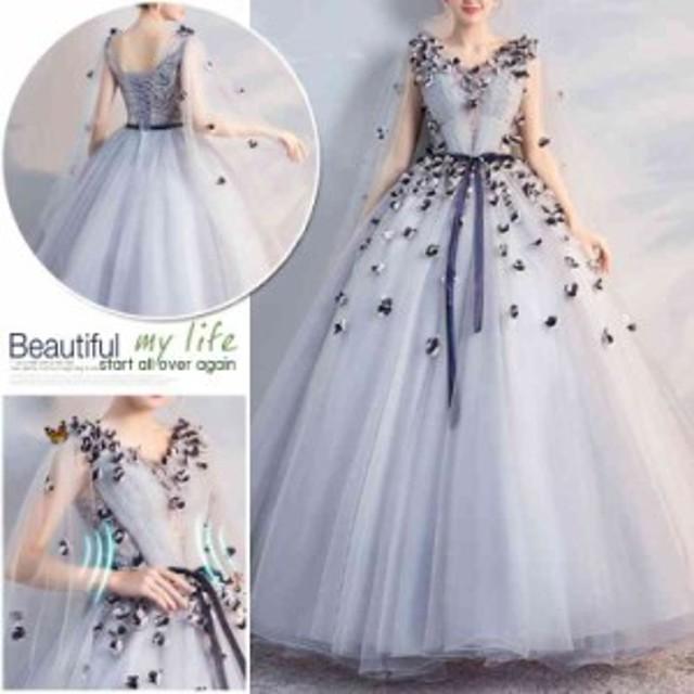 b981a667621fd カラードレス ロングドレス二次会 パーティードレス 編み上げ 花嫁 ウェディングドレス コンサート 披露宴 結婚式 演奏