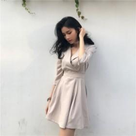 Vネックセクシー無地ワンピース 韓国ファッション