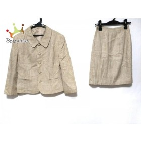 ジェイプレス スカートスーツ サイズ9 M レディース ベージュ×ライトグリーン×ブラウン       スペシャル特価 20190422