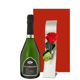 お酒 ギフト ワインとお花 シャンパン製法のスパークリングとプリザーブドフラワーセット フランス レ・コードリエ・ブリュット 750ml 赤いバラ