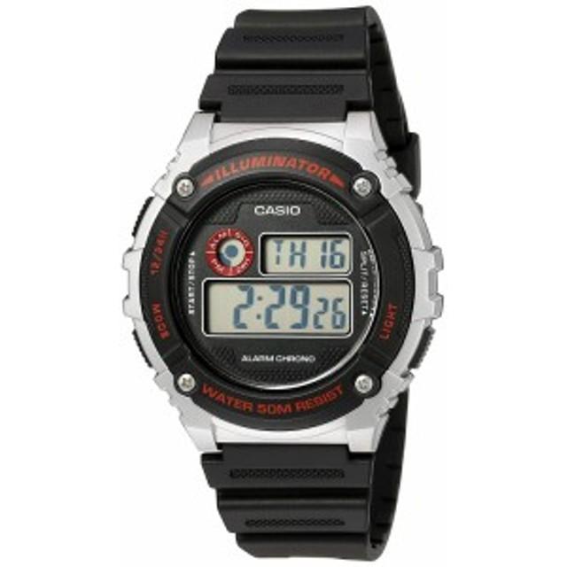 【当店1年保証】カシオCasio Men's 'Illuminator' Quartz Resin Watch, Color:Black (Model: W-216H-1CVC