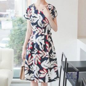 ワンピース レディース 半袖 きれいめ ベージュ 40代 高級感 30代 夏 上品 膝丈 青 50代 ファッション 紺 柄