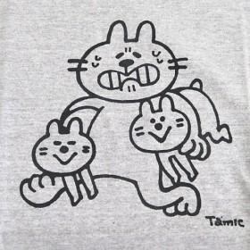 ネコTシャツ いたずらっこ-ユニセックス-★ミックスグレー★