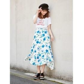 セシルマクビー(CECIL McBEE)/花柄アシンメトリースカート
