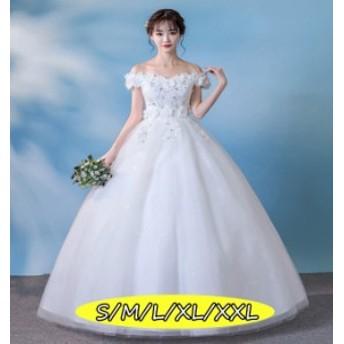 結婚式ワンピース お嫁さん 豪華な ウェディングドレス 花嫁 ドレス 華やかな花柄レース 大人 上品 20代30代40代 ホワイト色