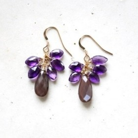 14KGF brownmoonstone amethyst pierce [kgf0527]