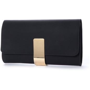 スタイルブロック STYLEBLOCK 大きめサイズゴールドプレート合皮パーティークラッチバッグ (ブラック)