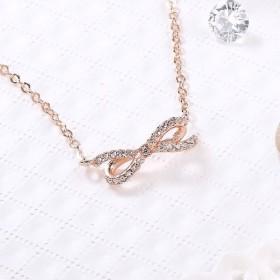 ダイヤモンドネックレス鎖骨チェーン(バラのゴールド)と愛の脂肪の弓