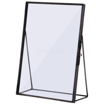 ブラス/グラス製 美しい 透明 ガラス 額縁 写真棚 フォトフレーム ポートレート棚 アンティーク 全4サイズ - 10.2 x 15.3cm