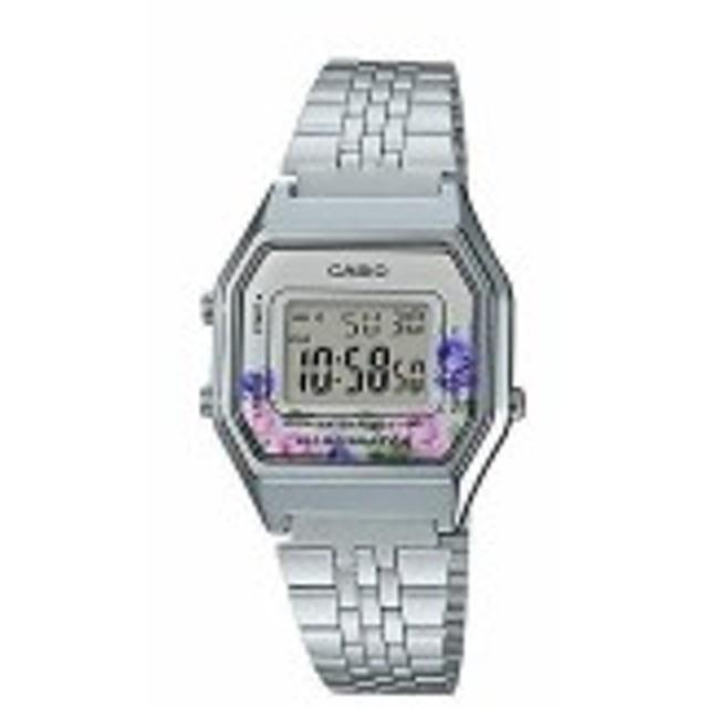【当店1年保証】カシオCasio LA680WA-4C Women's Vintage Floral Dial Alarm Chronograph Digital Watch