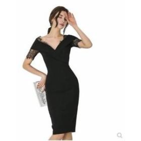 【送料無料】タイトワンピース Vネック レース 無地 シンプル ワンカラー ハイウエスト 大きいサイズ ドレス 結婚式 お呼ばれ 5l BTBA914