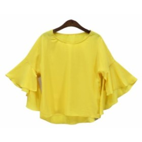 ショート丈フリル袖 シフォンのトップス トップス レディース?シャツ カットソー 20代 30代 40代 韓国ファッション 送料無料