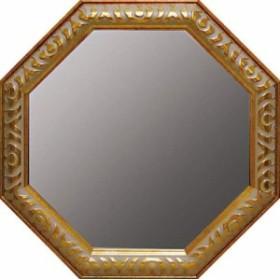 取寄品 送料無料 ゴールド Lサイズ アンティーク八角ミラー 風水開運鏡