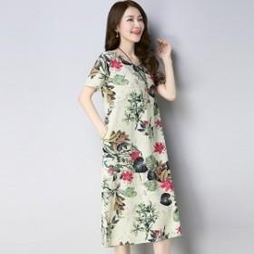 大きいサイズ 韓国ワンピース 花柄 フラワー マタニティ 麻綿 お出かけ デート ショッピング