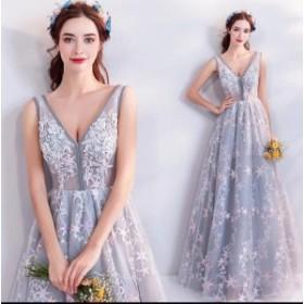 上品 パーティードレス  演奏会 ロングドレス 結婚式    二次会  ウエディングドレス V-ネック ドレス お呼ばれ  大きいサイズ