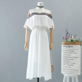 シフォンストラップドレス  フリル半袖 二の腕カバー 刺繍のラインパーティ 結婚式 婚活 女子会 結婚式二次会 お呼ばれ 送料無料