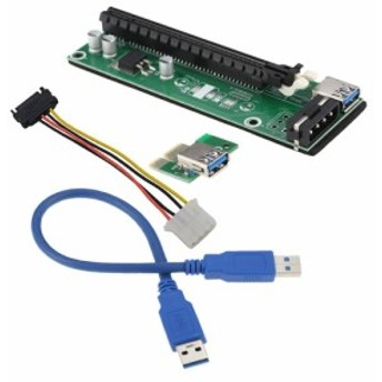Bitcoin Litecoin マイニングPC対応 USB 3.0 PCI-E 1X - 16X ライザーカード SATA 4ピン IDE モレックス電源ケ