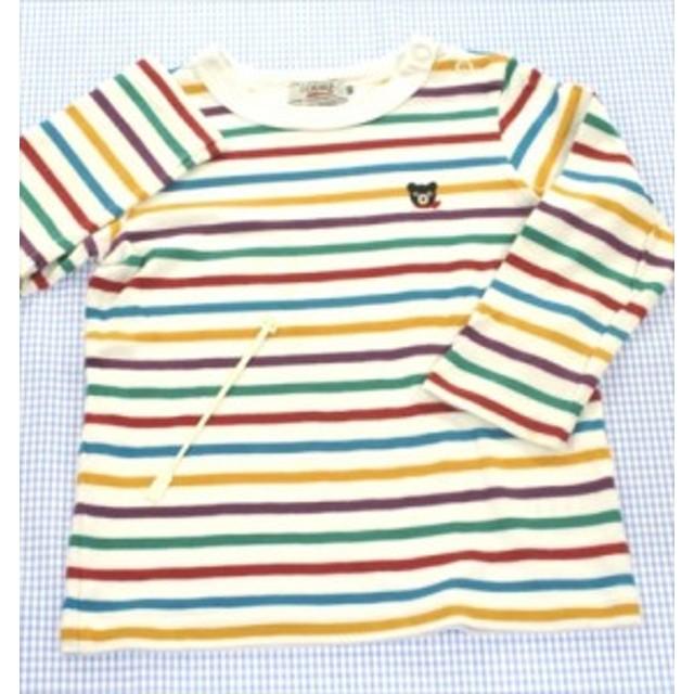 ミキハウスダブルビー DOUBLE.B 長袖Tシャツ ロンt 90cm 白/青/赤/緑系 ボーダー キッズ トップス 男の子 女の子 子供服 通販 買い取り