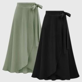 ウエストリボン ロングスカート 大きいサイズも リゾートにもピッタリ スカート ボトムス レディース 20代 30代 40代 入学式 入園式