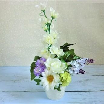 仏花*造花のアレンジメント*ホワイト&パープル