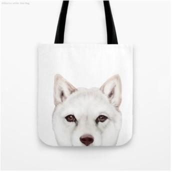 柴犬白オリジナルイラスト、両面ぷりんとトートバッグ