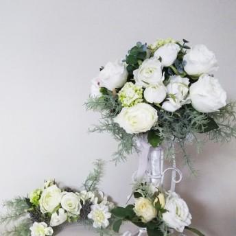 1点もの、オリジナル、純白のアーティフィシャルフラワーのブライダルブーケセット