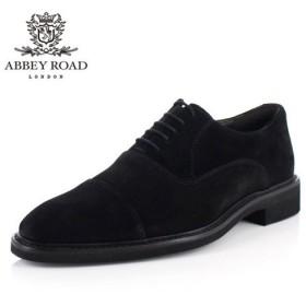 アビーロード ABBEY ROAD 革靴 メンズ ストレートチップ 内羽根式 本革 3E 幅広 AB7502 ブラック スエード ビジネス カジュアル ドレス セール