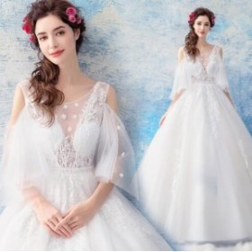 高級なウェディングドレス パーティドレス ホワイト 二次会 結婚式 司会者 披露宴 ナイトドレス ロングドレス