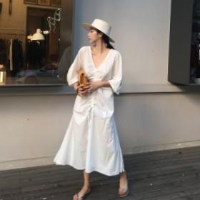 レディースファッション 2018秋新作 大きいサイズ ルーズ ワンピース とろみ素材 ひざ下丈 ロング丈 長袖