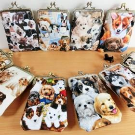 10種・犬柄がま口ウエストポケット/スマホケースポーチ布×合皮