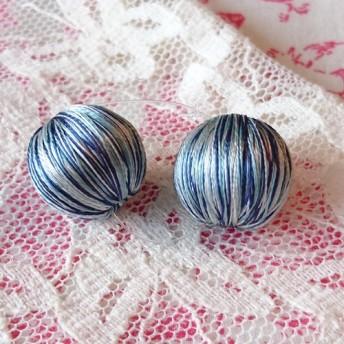 『巻き糸ビーズ ボールチャーム』 17mm 水色×ブルー2個セット