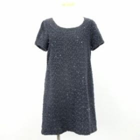 【中古】PROPORTION BODY DRESSING ワンピース ひざ丈 半袖 スパンコール 紺系 ネイビー 3 T-180725 レディース