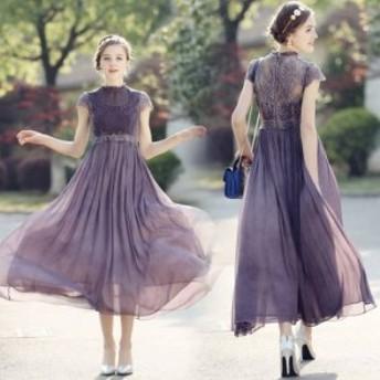 即納あり ロングドレス 袖あり パーティードレス 大きいサイズ 体型カバー 20代 30代 二次会 レース ロング丈 半袖 花柄 Aライン 刺繍 パ