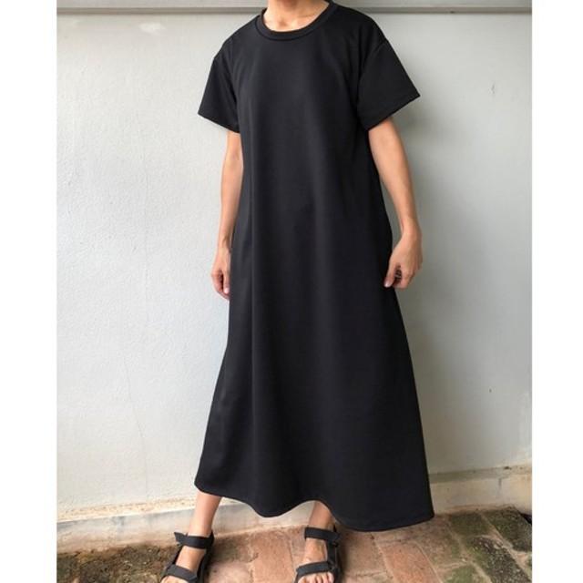 フレアマキシワンピース ポンチ素材 黒 Tシャツワンピース