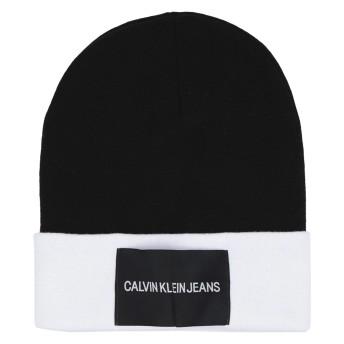 《送料無料》CALVIN KLEIN JEANS メンズ 帽子 ブラック one size コットン 50% / アクリル 50% J CLR BLOCK KNITTED
