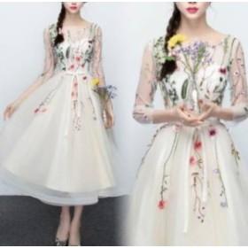 ロングドレス 袖あり パーティドレス 演奏会 春夏 大きいサイズ 20代 ロング丈 七分袖 ラウンドネック レース 花柄 刺繍