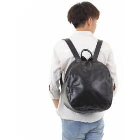 NEWデザイン 本革 ピラミッド型 リュックサック バッグ レザー 【ブラック】