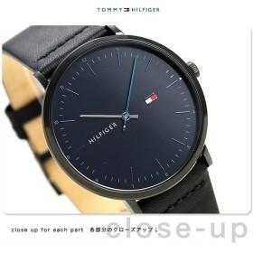 トミーヒルフィガー メンズ 腕時計 40mm 革ベルト ジェームス 1791462 TOMMY HILFIGER ネイビー×ブラック