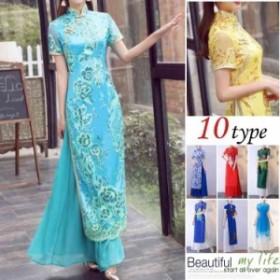チャイナドレス ドレス ワンピース レディース ミセス パーティードレス 半袖 ロング china風ドレス 刺繍 花柄 体型カバ