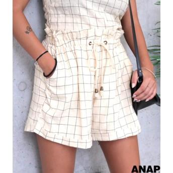 【セール開催中】ANAP(アナップ)ロープベルトコットンチェックショートパンツ