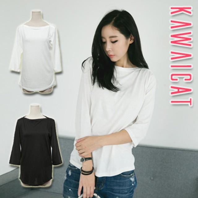 カットソー - KawaiCat 【ts12315】シンプルなデザインで色んなコーデに着まわし可能☆リップネック7分袖Tシャツ