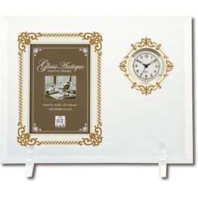 ユーパワー グラス アンティーク フォトフレーム 1ウィンドー&クロック(ホワイト&ゴールド) GF-03581