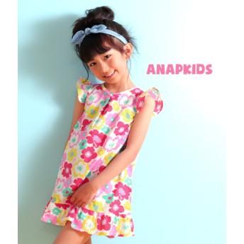 【セール開催中】ANAP KIDS(キッズ)リネン混フラワーワンピース