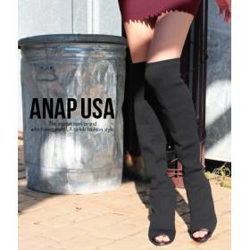 【セール開催中】ANAP(アナップ)ウッドヒールニーハイニットブーツ